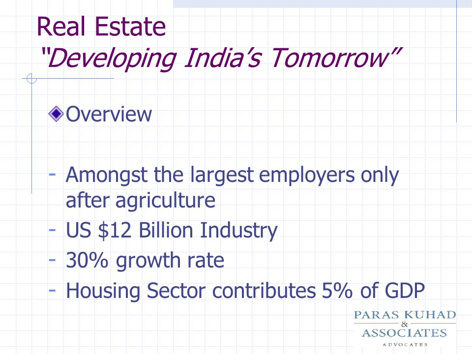 Real Estate Developing India's Tomorrow