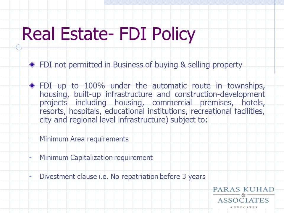 Real Estate- FDI Policy
