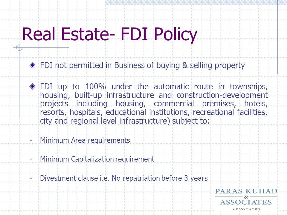Real Estate- FDI Policy