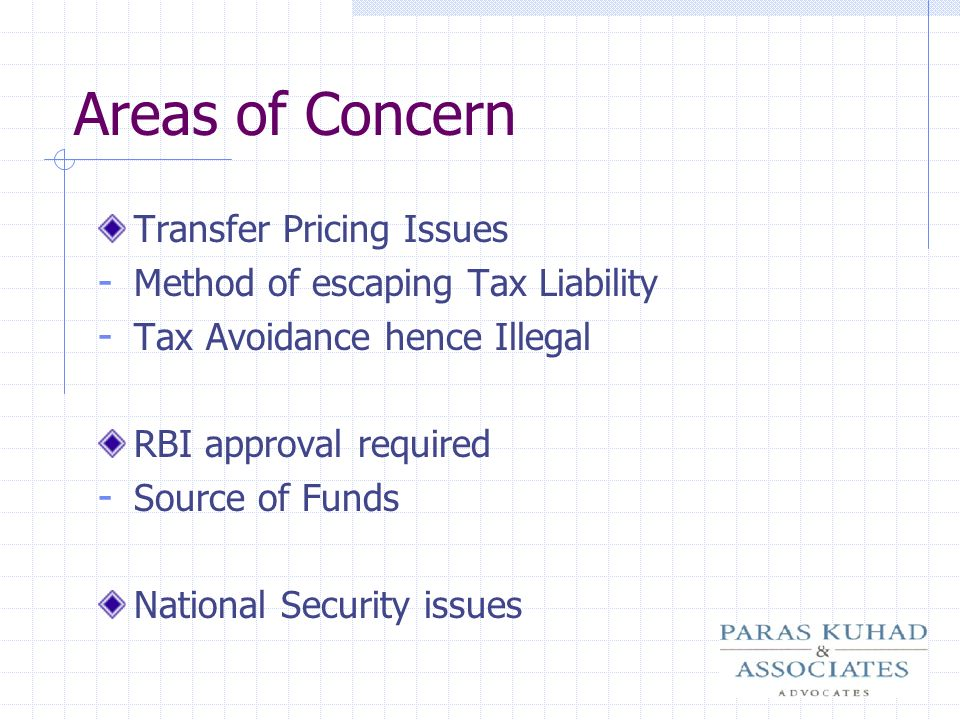Areas of Concern Transfer Pricing Issues