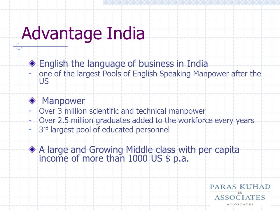 Advantage India English the language of business in India Manpower
