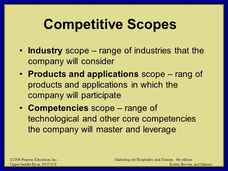 Competitive Scopes Industry scope – range of industries that the company will consider.