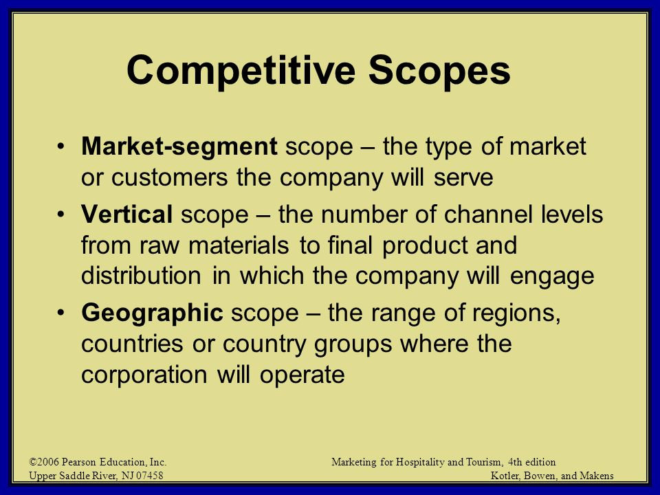 Competitive Scopes Market-segment scope – the type of market or customers the company will serve.
