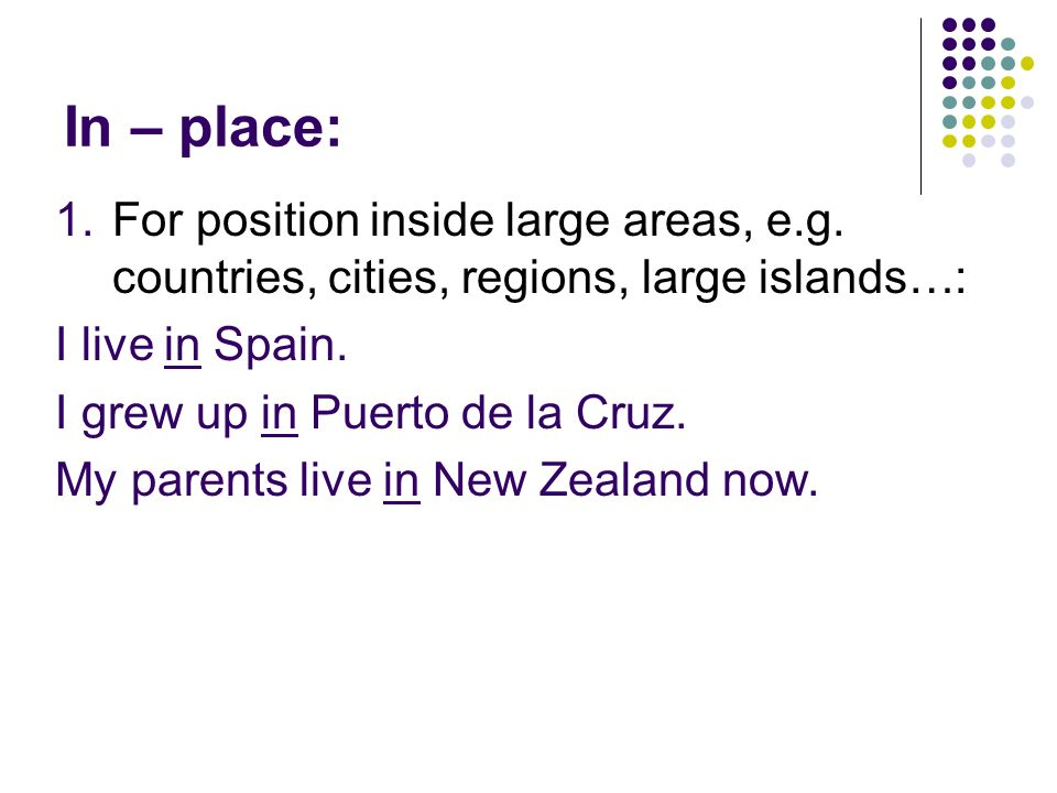In – place: For position inside large areas, e.g. countries, cities, regions, large islands…: I live in Spain.