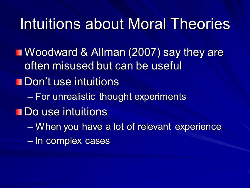 Intuitions about Moral Theories