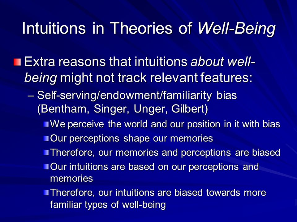 Intuitions in Theories of Well-Being