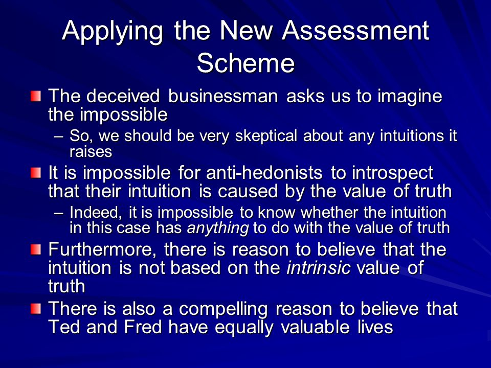 Applying the New Assessment Scheme