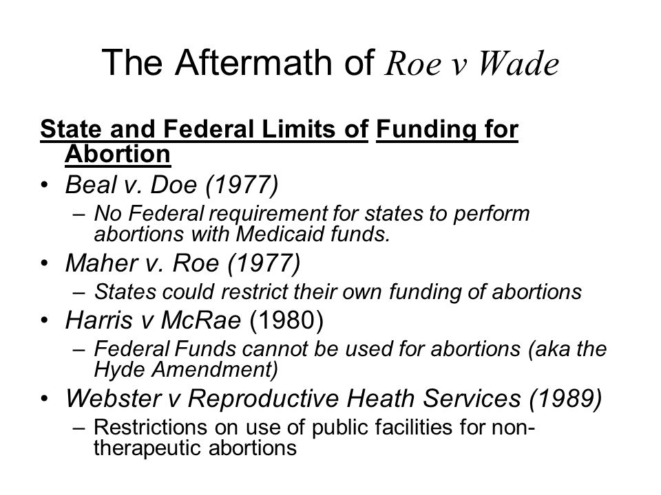 The Aftermath of Roe v Wade