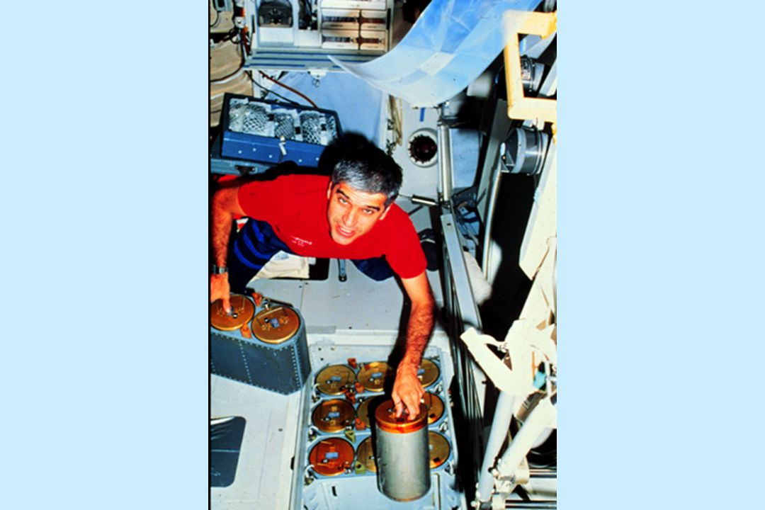 With 7 people and 29 rats aboard, there was a lot ov extra CO2 in the cabin, this was 'scrubbed' by filtering the air through lithium hydroxide canisters, here Sid is changing out the cylinders, a daily task.