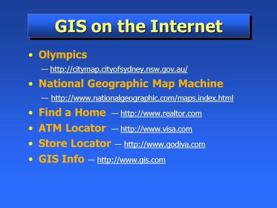 GIS on the Internet Olympics National Geographic Map Machine