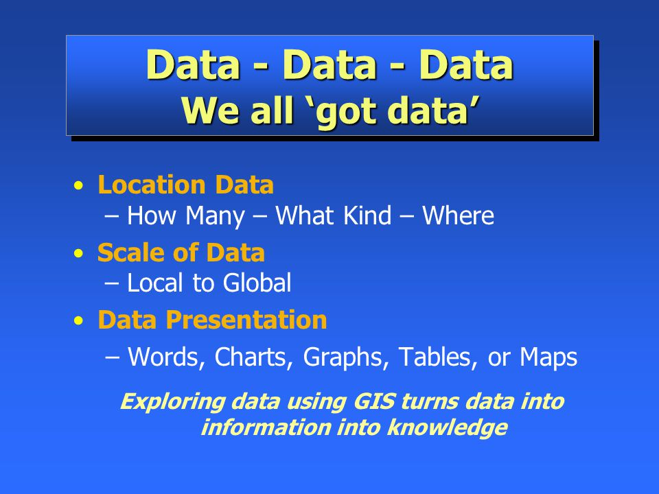 Data - Data - Data We all 'got data'