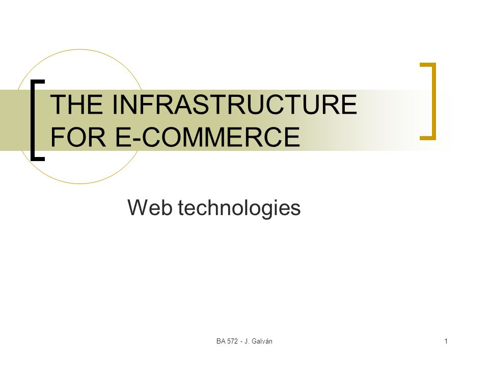 THE INFRASTRUCTURE FOR E-COMMERCE