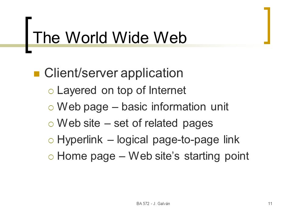 The World Wide Web Client/server application