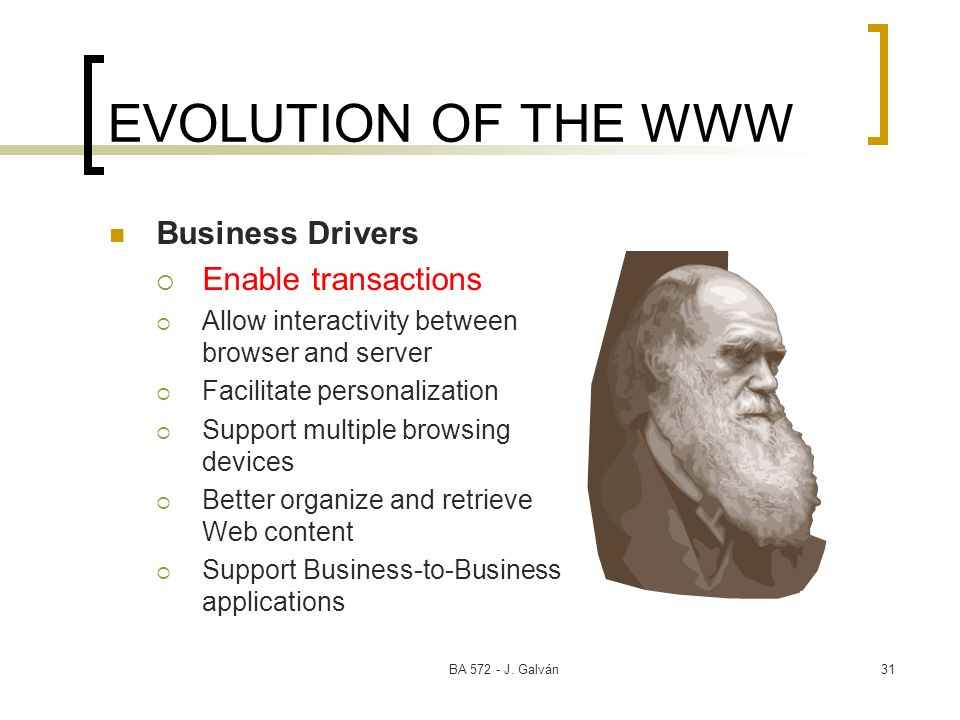 EVOLUTION OF THE WWW Business Drivers Enable transactions