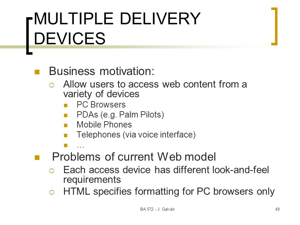 MULTIPLE DELIVERY DEVICES
