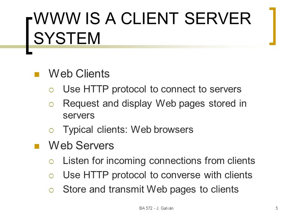 WWW IS A CLIENT SERVER SYSTEM