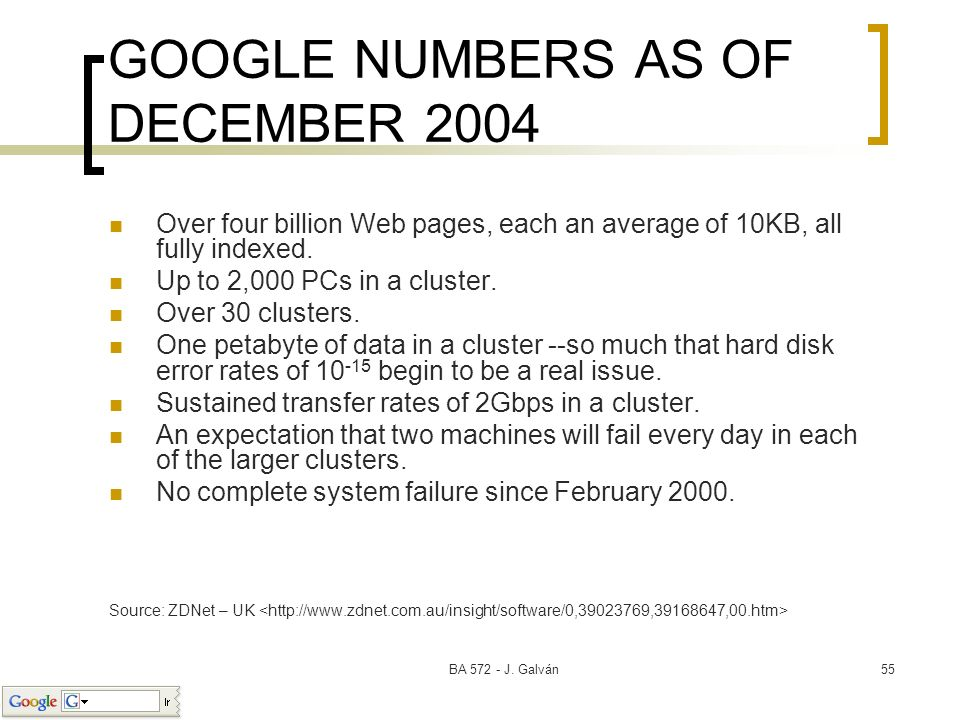 GOOGLE NUMBERS AS OF DECEMBER 2004
