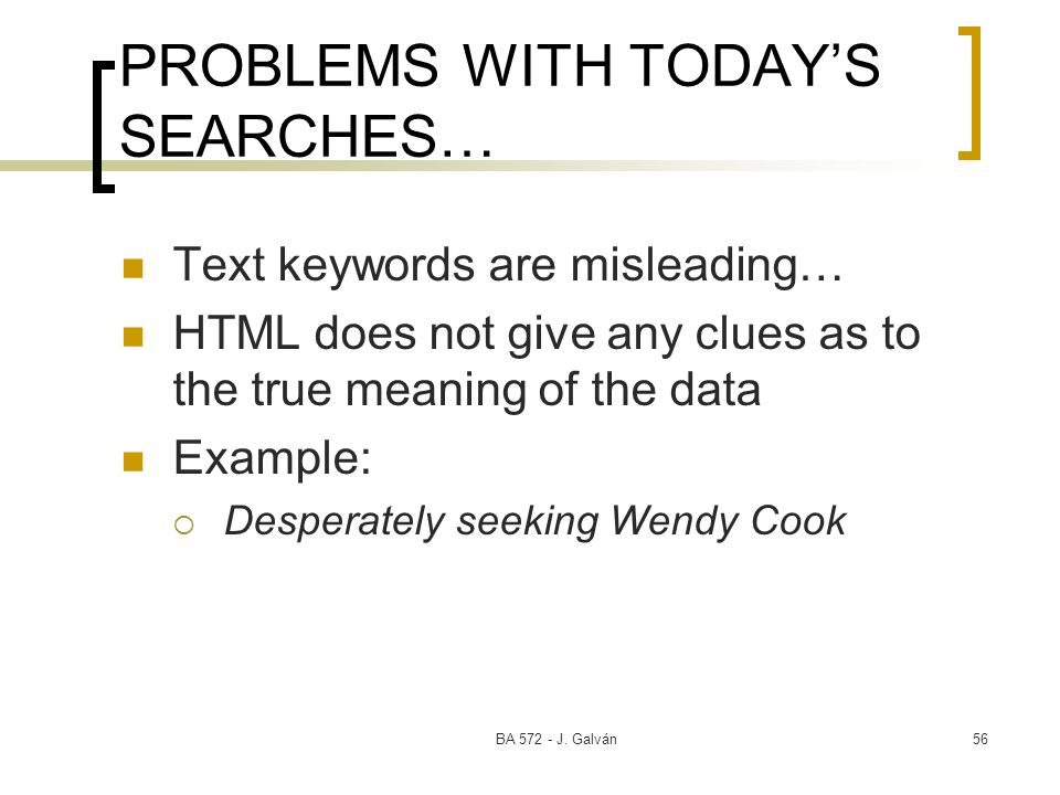 PROBLEMS WITH TODAY'S SEARCHES…
