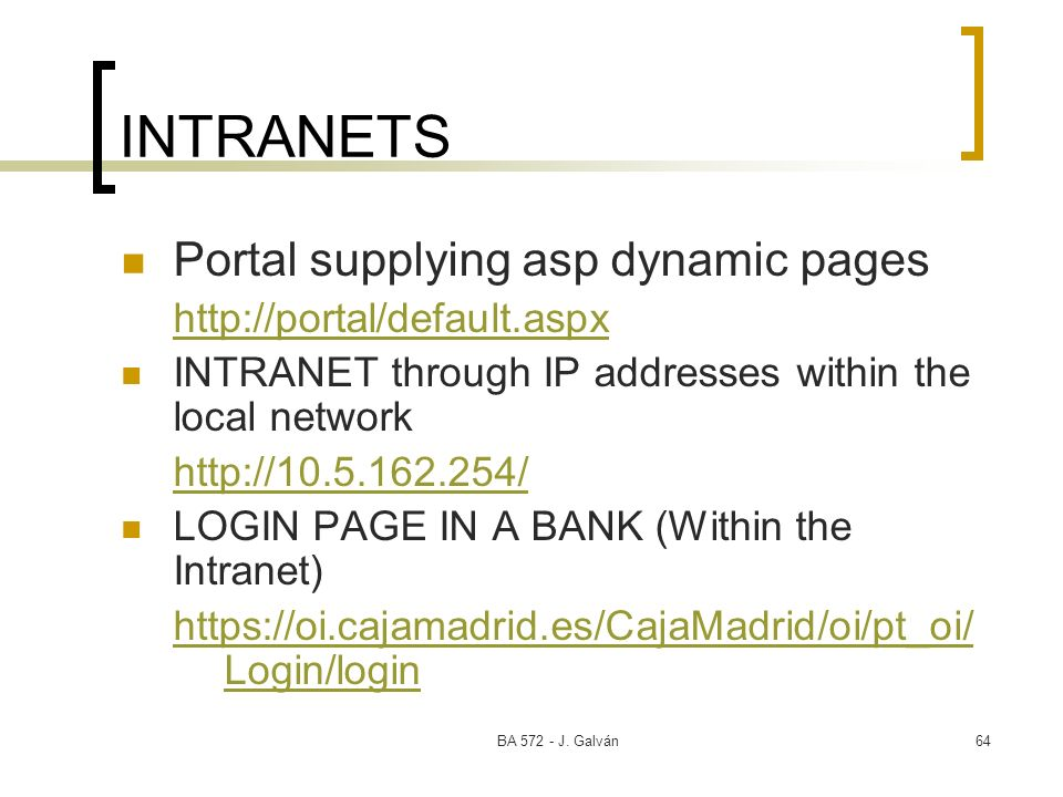 INTRANETS Portal supplying asp dynamic pages