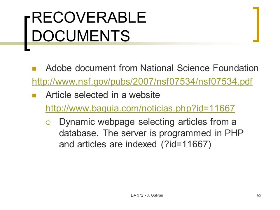 RECOVERABLE DOCUMENTS