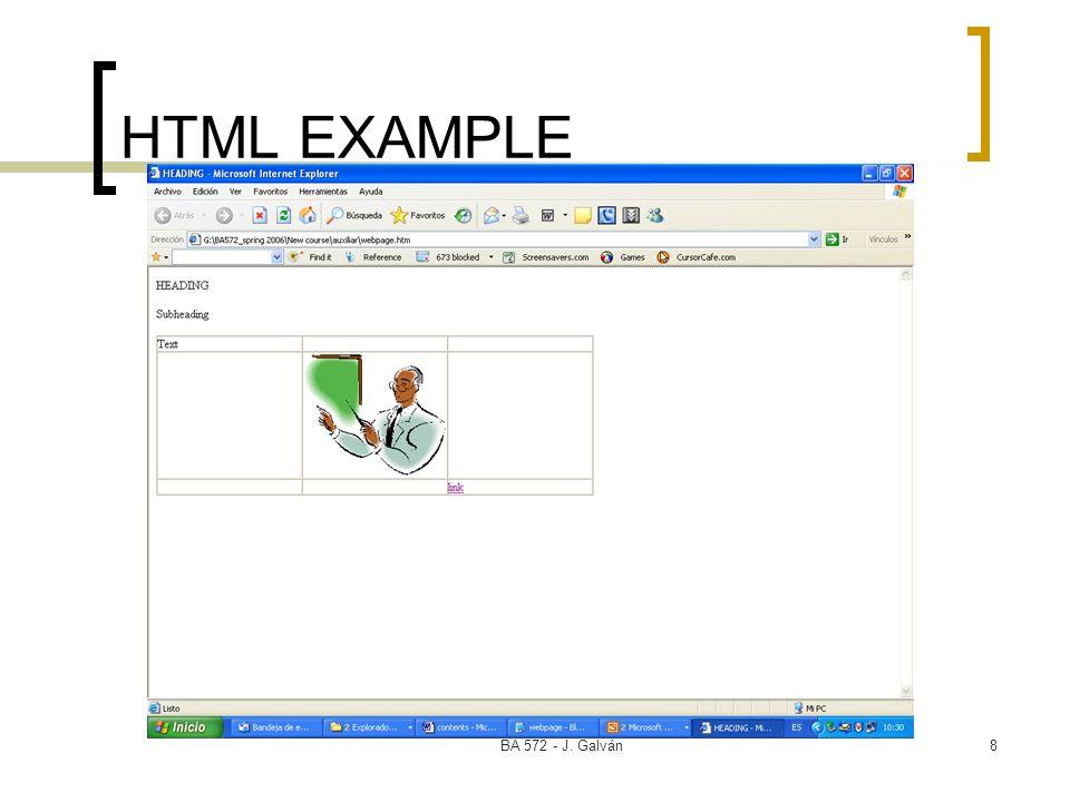 HTML EXAMPLE BA 572 - J. Galván
