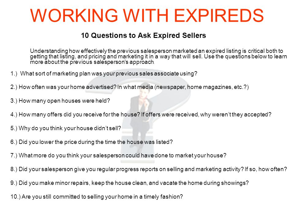 10 Questions to Ask Expired Sellers
