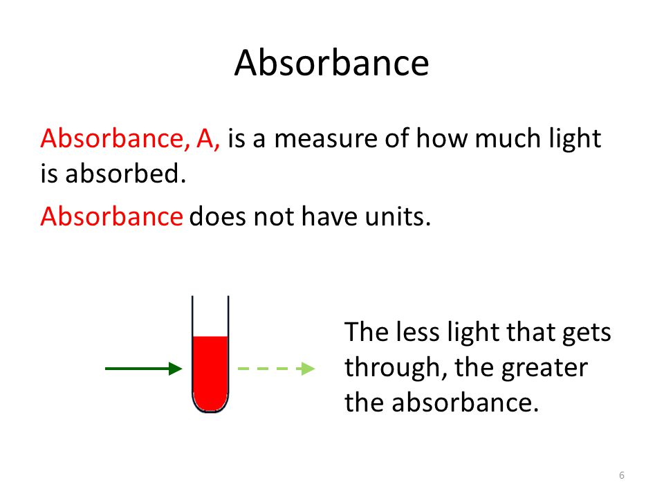 Absorbance Absorbance, A, is a measure of how much light is absorbed. Absorbance does not have units.