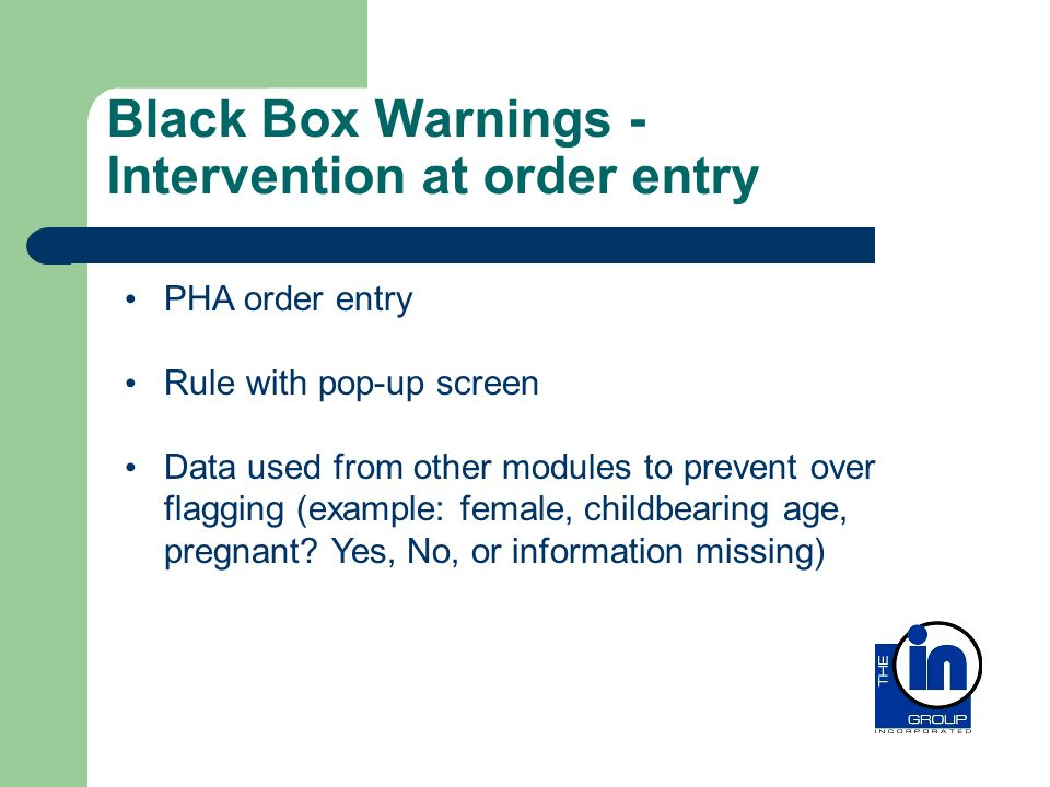 Black Box Warnings - Intervention at order entry