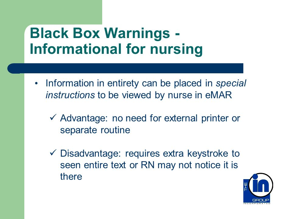 Black Box Warnings - Informational for nursing