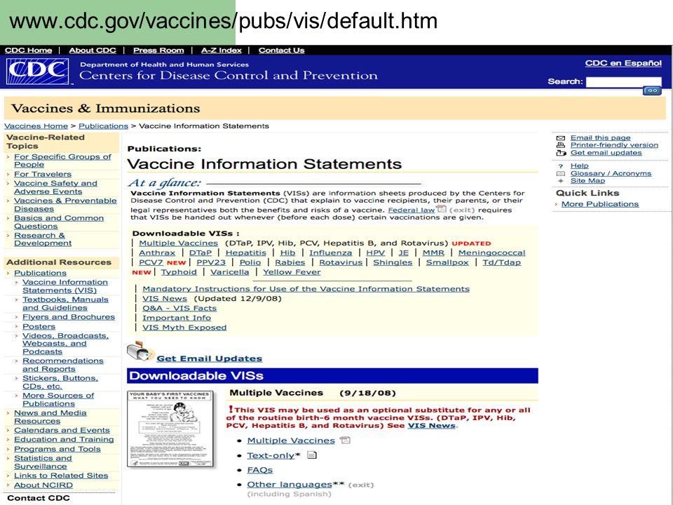www.cdc.gov/vaccines/pubs/vis/default.htm