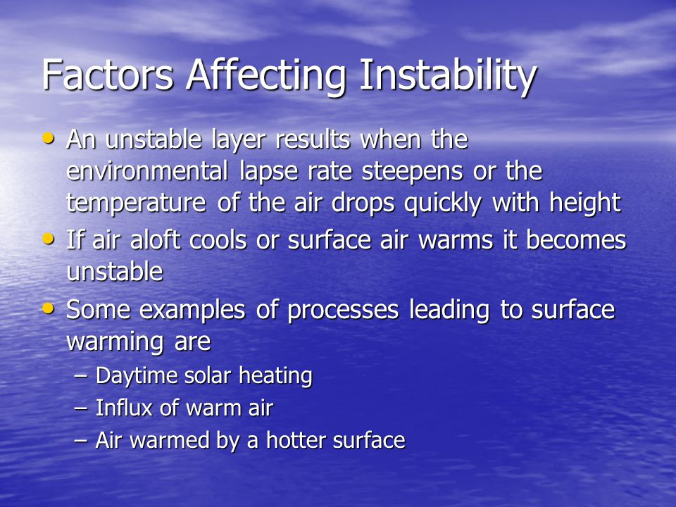 Factors Affecting Instability