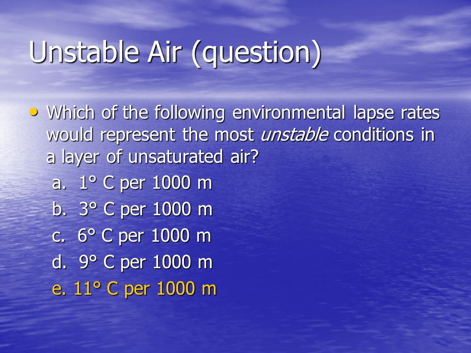 Unstable Air (question)