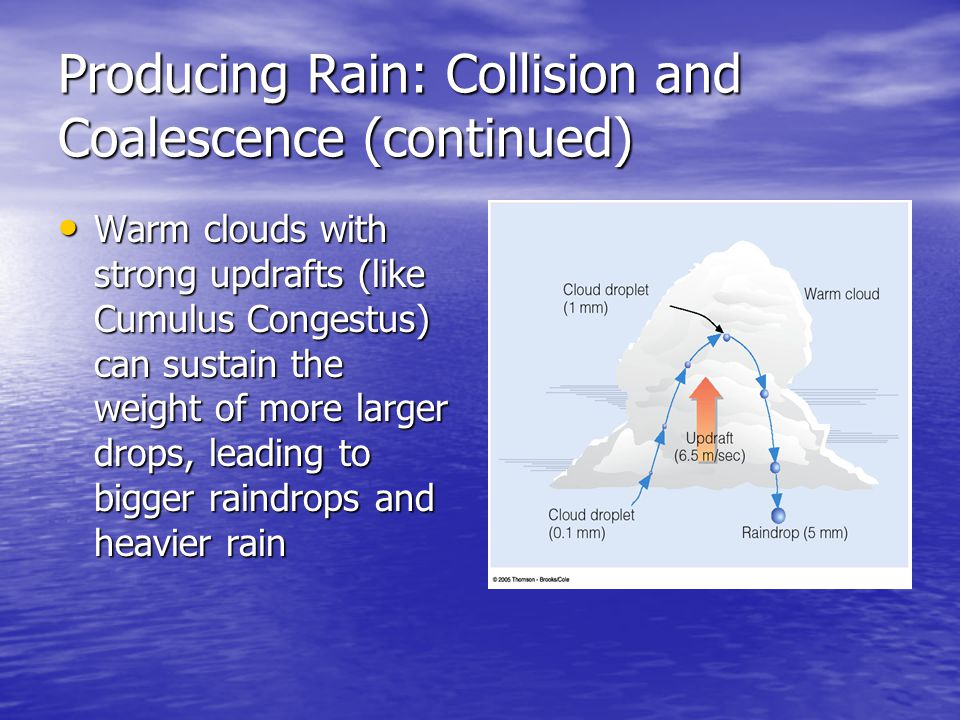 Producing Rain: Collision and Coalescence (continued)