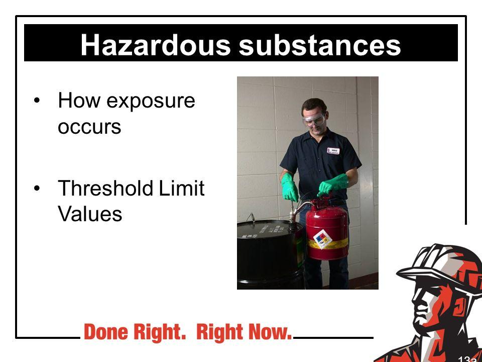 Hazardous substances How exposure occurs Threshold Limit Values 13a