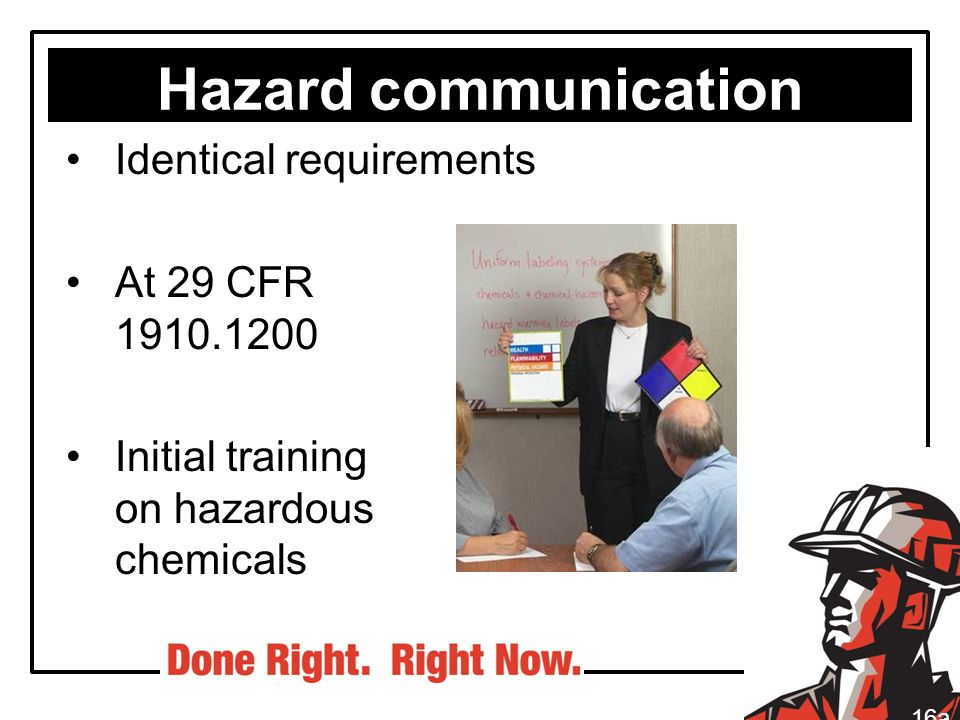 Hazard communication Identical requirements At 29 CFR 1910.1200