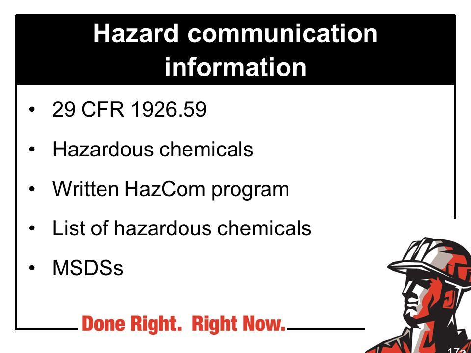 Hazard communication information