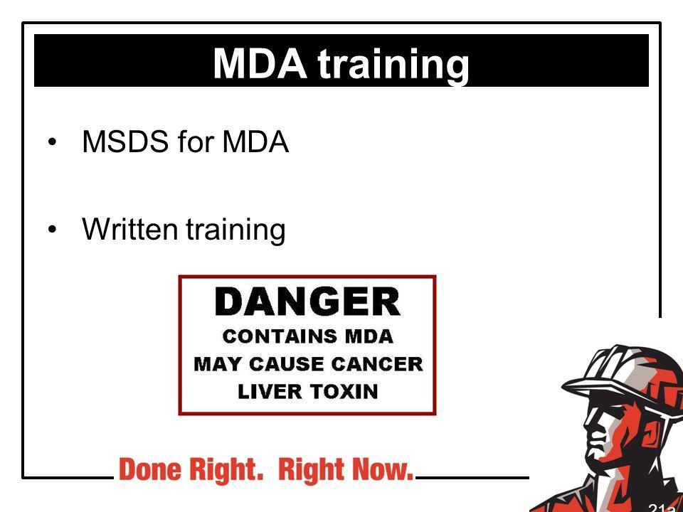 MDA training MSDS for MDA Written training 21a