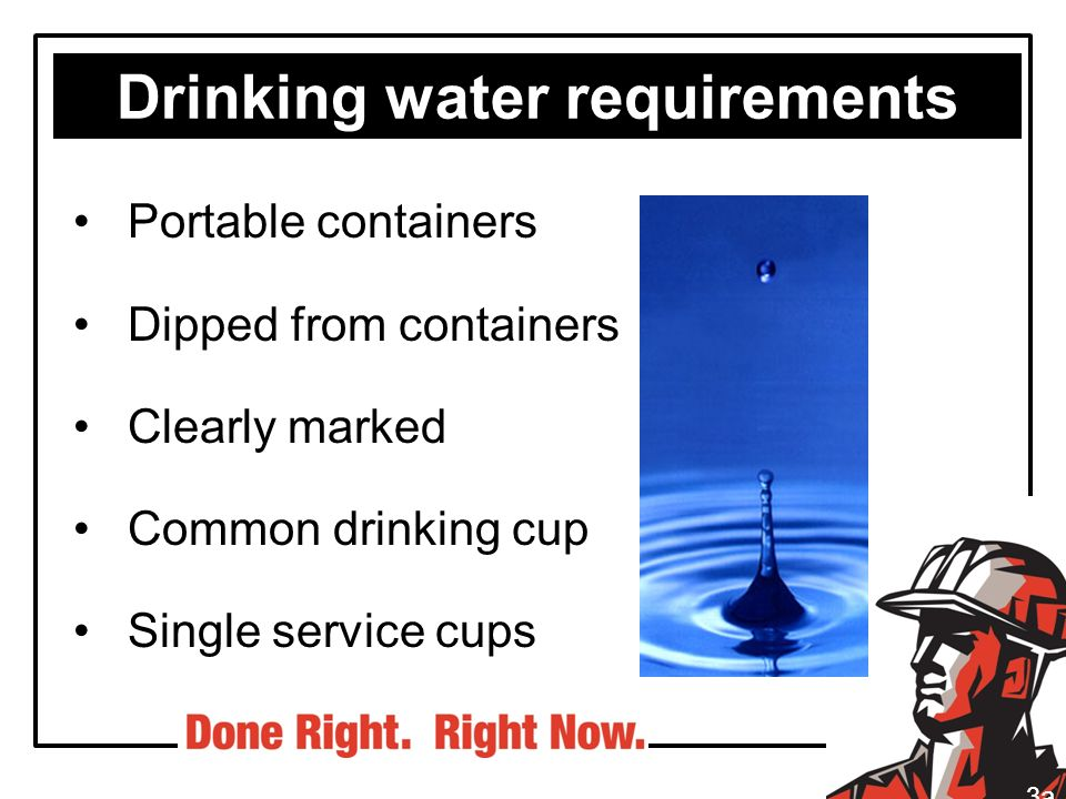 Drinking water requirements