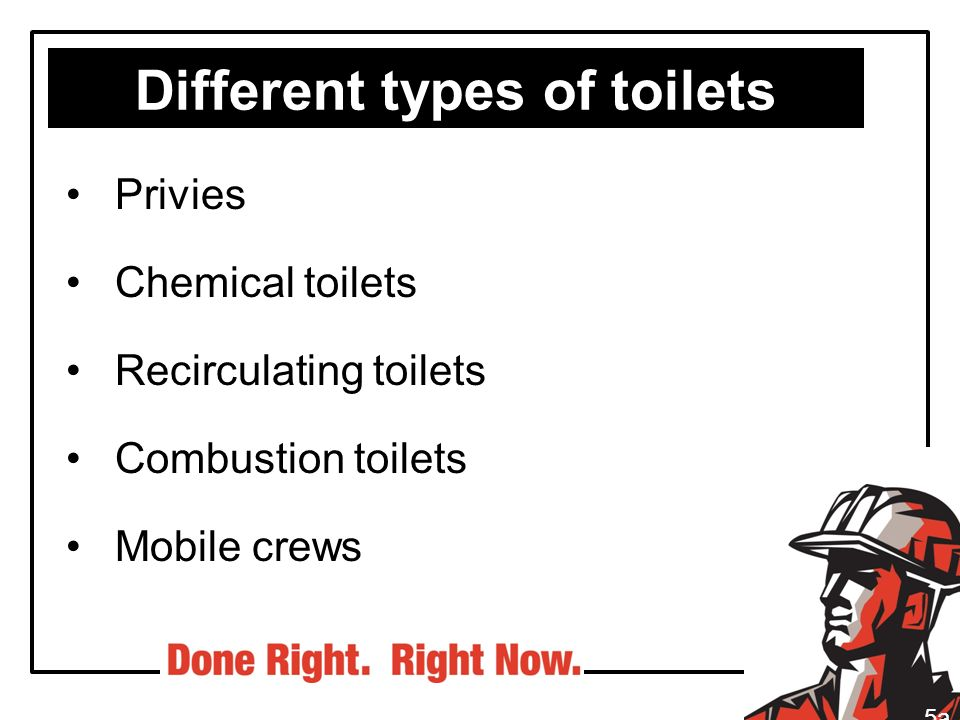 Different types of toilets