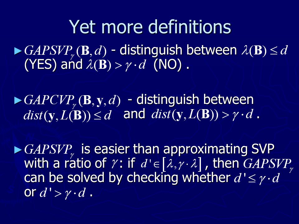 Yet more definitions - distinguish between (YES) and (NO) .