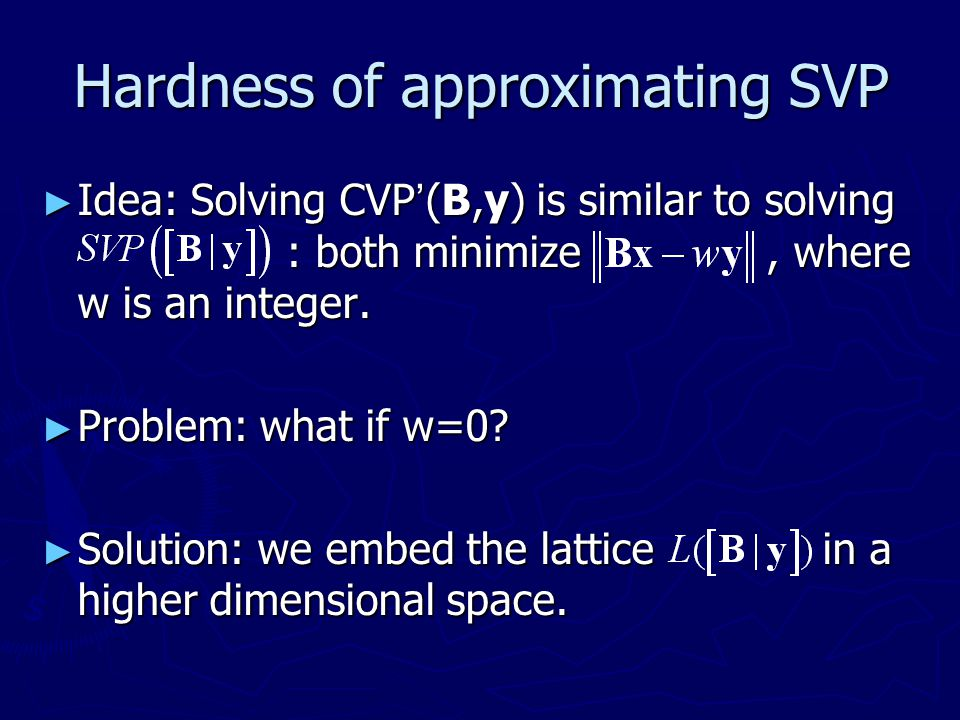 Hardness of approximating SVP