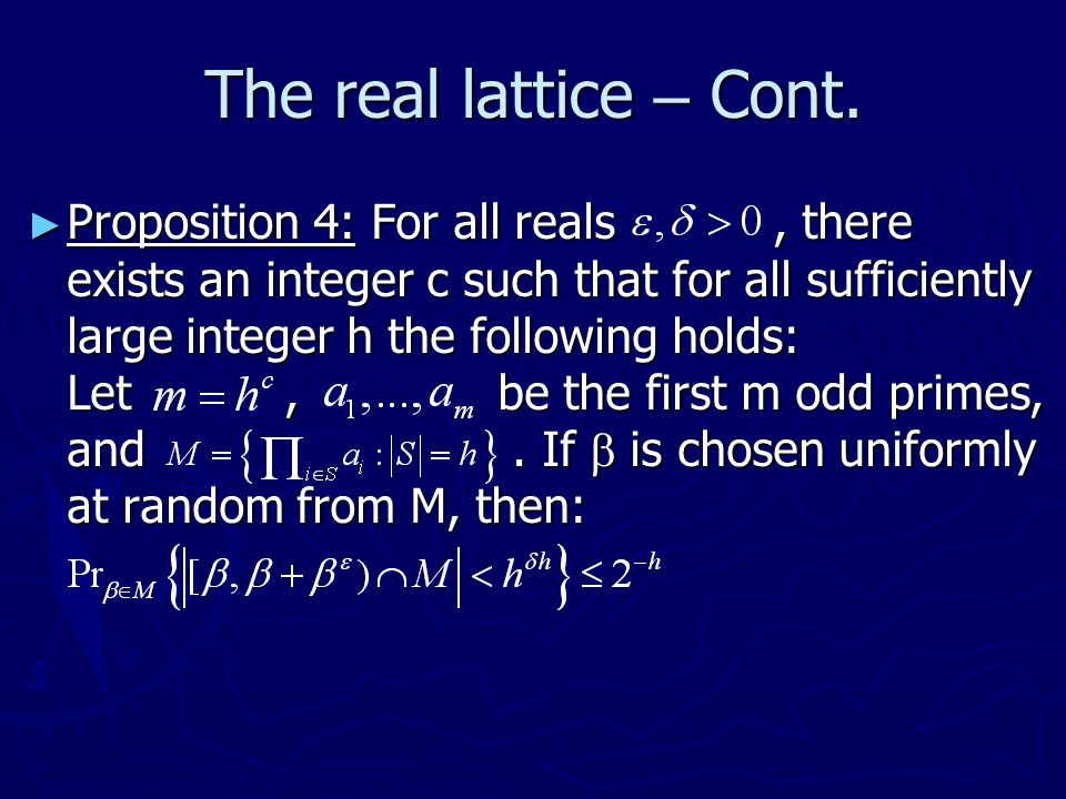The real lattice – Cont.