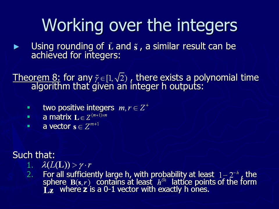 Working over the integers