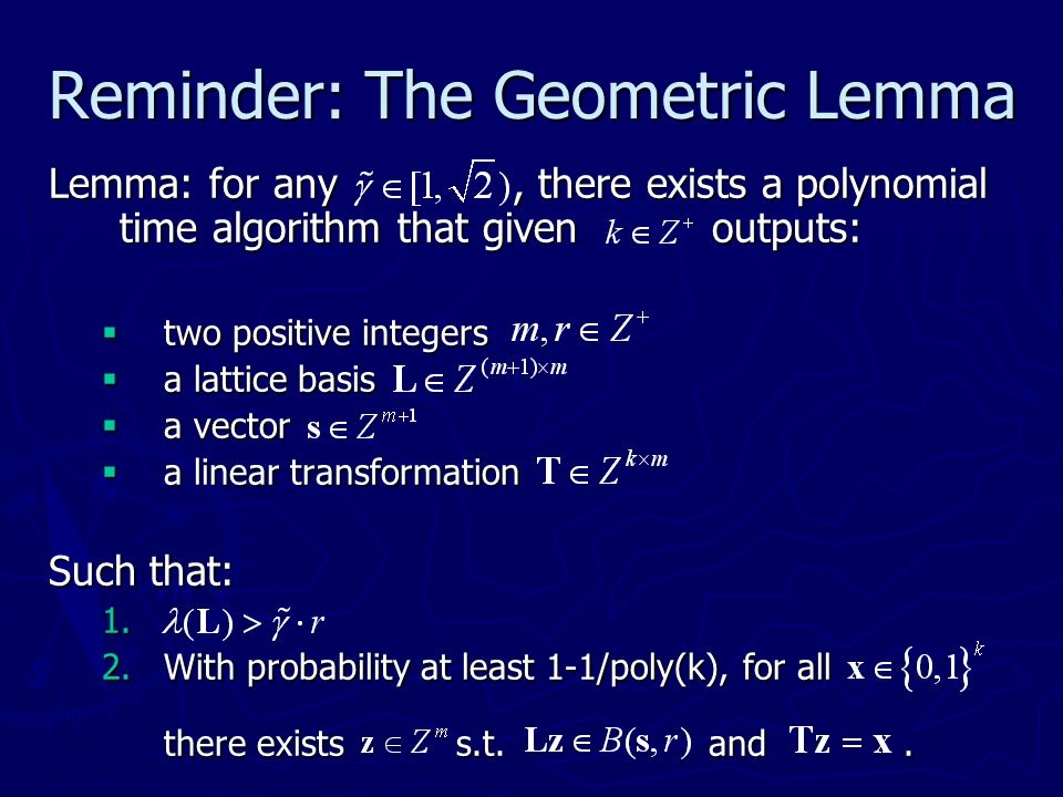 Reminder: The Geometric Lemma