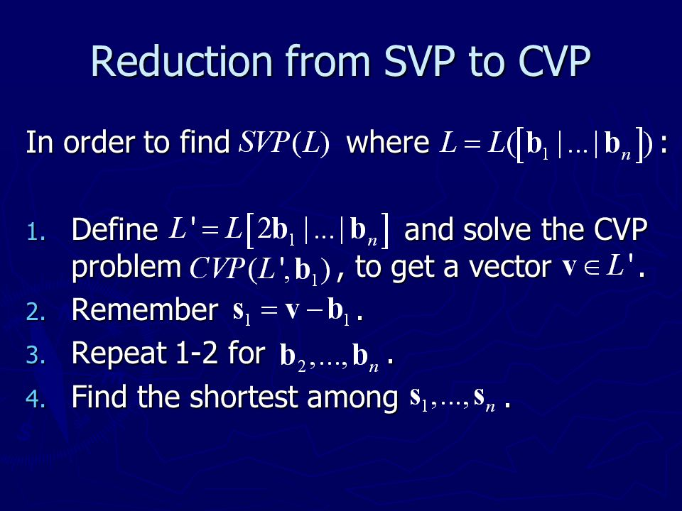 Reduction from SVP to CVP