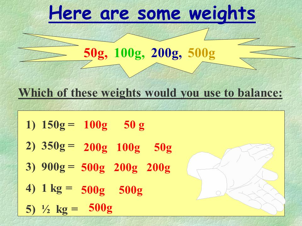 Here are some weights 50g, 100g, 200g, 500g