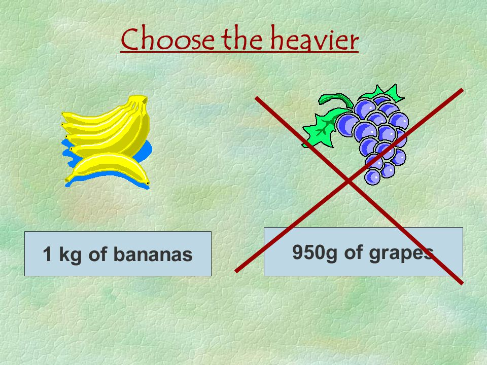 Choose the heavier 950g of grapes 1 kg of bananas