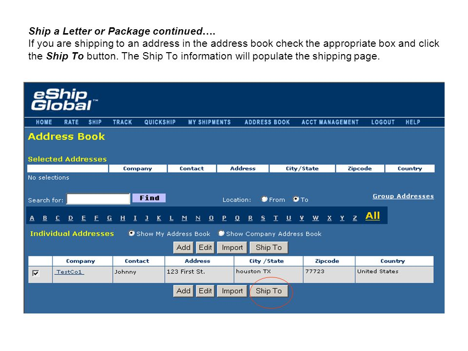Ship a Letter or Package continued…