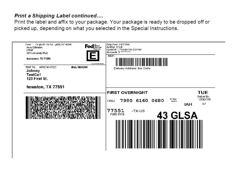 Print a Shipping Label continued…