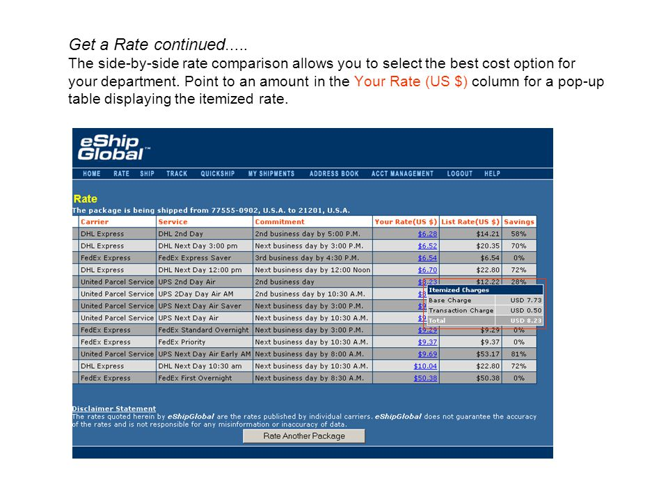 Get a Rate continued…..